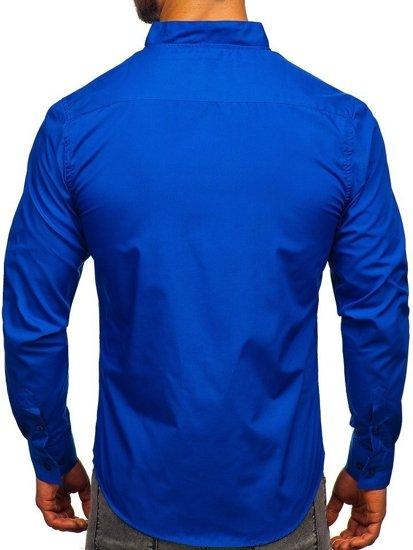 Kobaltová pánska košeľa s dlhými rukávmi BOLF 5702