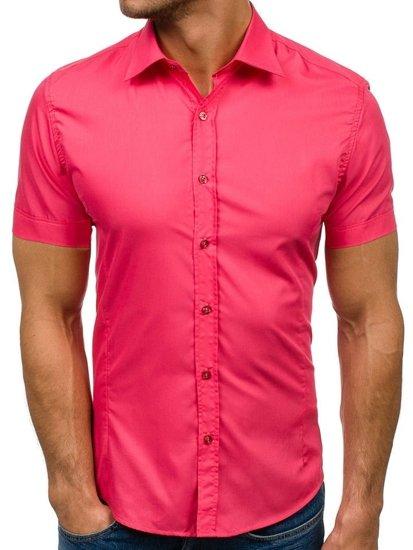 Korálová pánska elegantá košeľa s krátkymi rukávmi BOLF 7501