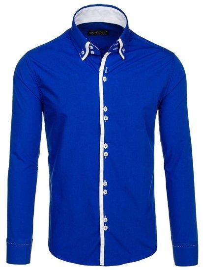 Kráľovský modrá pánska elegantá košeľa s dlhými rukávmi BOLF 1721-A