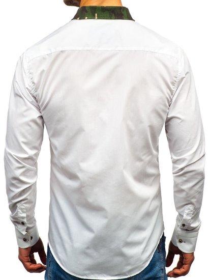 Maskáčovo-biela pánska elegantná košeľa s dlhými rukávmi BOLF 6876