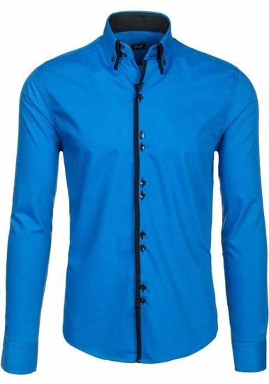 Modrá pánska elegantá košeľa s dlhými rukávmi BOLF 1721-A