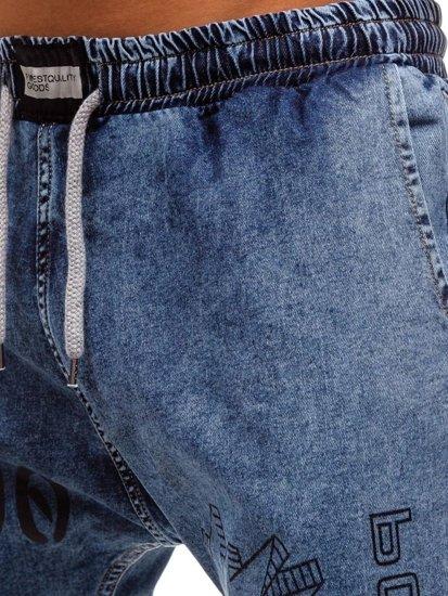 Modré pánske riflové baggy nohavice BOLF 2037