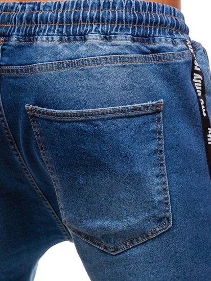 Modré pánske riflové baggy nohavice BOLF 2045