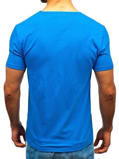 Modré pánske tričko bez potlače BOLF T1042