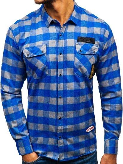 Modro-šedá pánska flanelová košeľa s dlhými rukávmi BOLF 2503