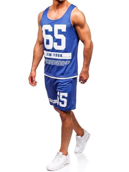 Modrý pánsky komplet: tričko + kraťasy  BOLF 100777