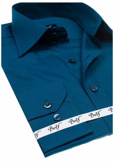 Morská pánska elegantná košeľa s dlhými rukávmi BOLF 1703