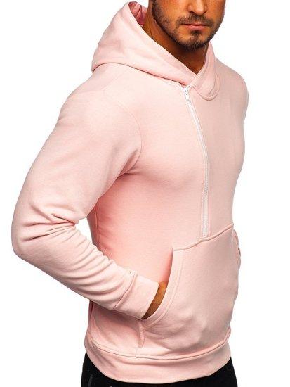 Ružová pánska mikina s kapucňou a potlačou Bolf 01