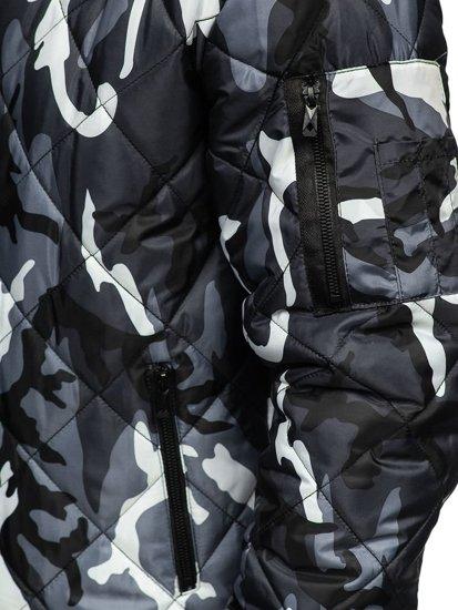 Šedá maskáčová pánska športová prechodná bunda Bolf MY21M