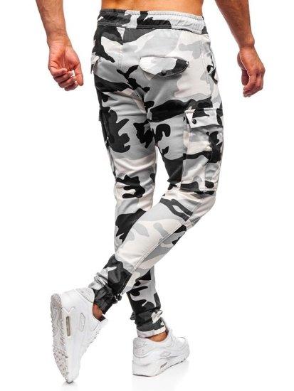 Šedé maskáčové pánske kapsáčové joggery Bolf 1005
