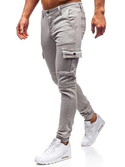 Šedé pánske jogger nohavice BOLF 2039