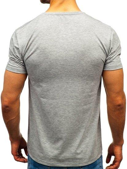 Šedé pánske tričko bez potlače Bolf 172009-A