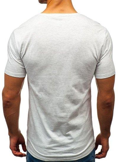 Šedé pánske tričko s potlačou BOLF 7483