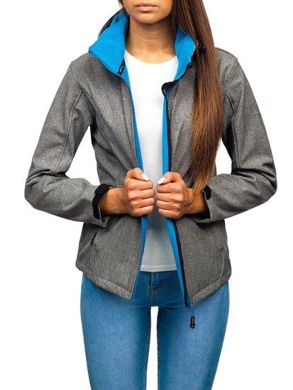 Šedo-modrá dámska softshellová prechodná bunda BOLF AB053