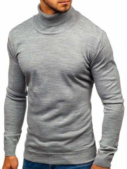 Šedý pánsky sveter / rolák BOLF 2400