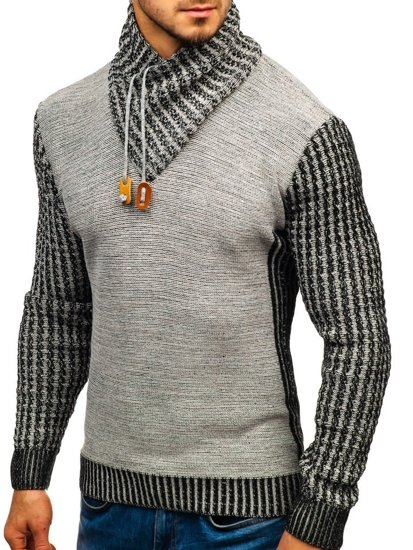 Šedý pánsky vzorovaný sveter BOLF 2010