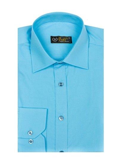 Svetlomodrá pánska elegantá košeľa s dlhými rukávmi BOLF 1703