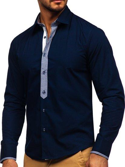 Tmavomodrá pánska elegantná košeľa s dlhými rukávmi BOLF 6873