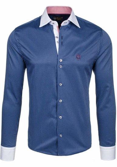 Tmavomodrá pánska elegantná pruhovaná košeľa s dlhými rukávmi BOLF 4784-1