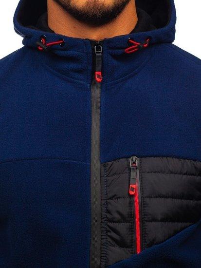Tmavomodrá pánska flísová bunda s kapucňou Bolf YL011