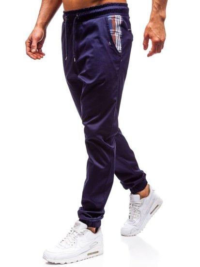 Tmavomodré pánske jogger nohavice BOLF 0449