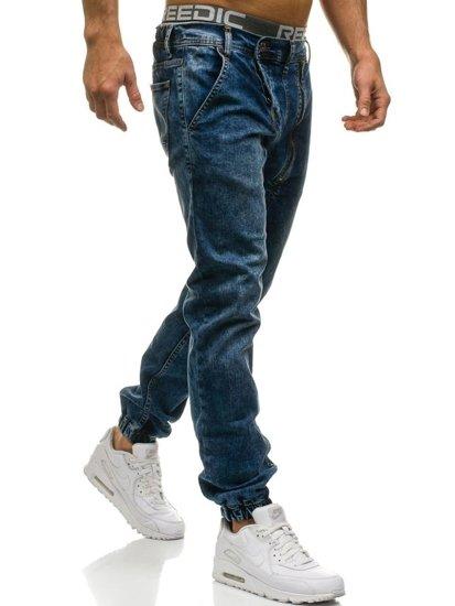 Tmavomodré pánske riflové jogger nohavice BOLF 408-1