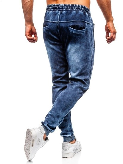 Tmavomodré pánske rifľové joggery  Bolf KK1063