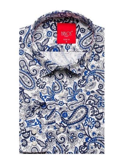 Tmavomodro-modrá pánska vzorovaná košeľa s dlhými rukávmi BOLF 301G76