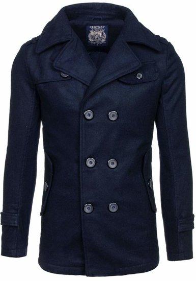 Tmavomodrý pánsky zimný kabát BOLF EX906