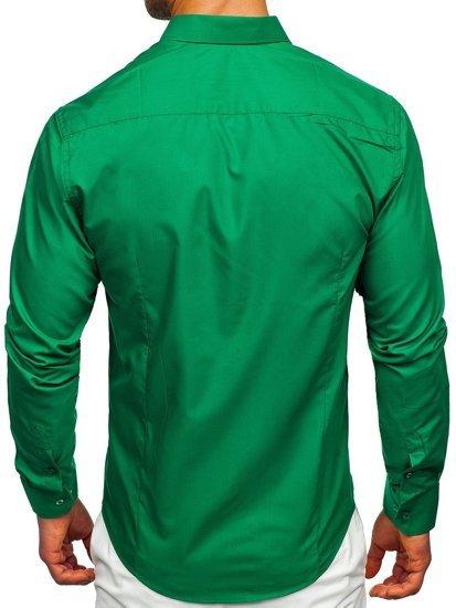 Tmavozelená pánska elegantá košeľa s dlhými rukávmi BOLF 1703