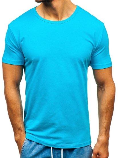 Tyrkysové pánske tričko bez potlače BOLF T1042