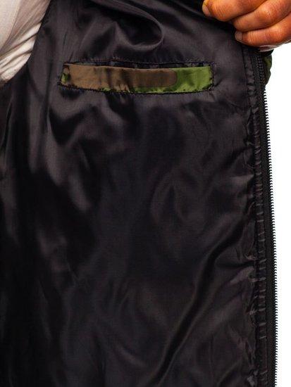 Zelená maskáčová pánska športová prechodná bunda Bolf MY21M
