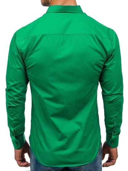 Zelená pánska elegantná košeľa s dlhými rukávmi BOLF 1703