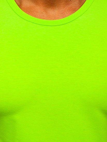 Zelené neónové pánske tielko bez potlače Bolf 99001