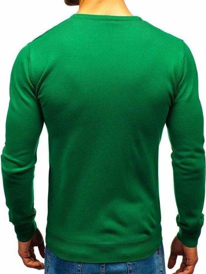Zelený pánsky sveter s výstrihom do V BOLF 2200