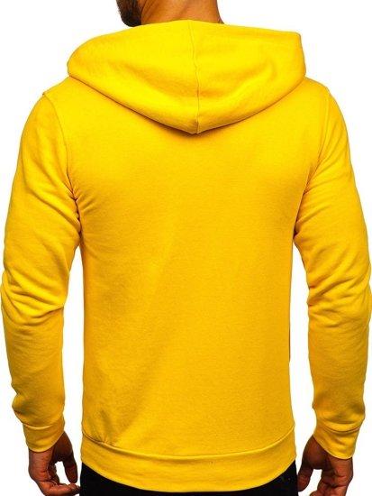 Žltá pánska mikina s kapucňou a potlačou Bolf 01