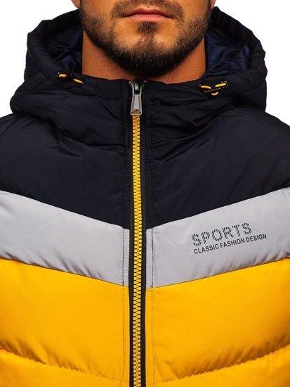 Žltá pánska vesta s kapucňou BOLF 5804