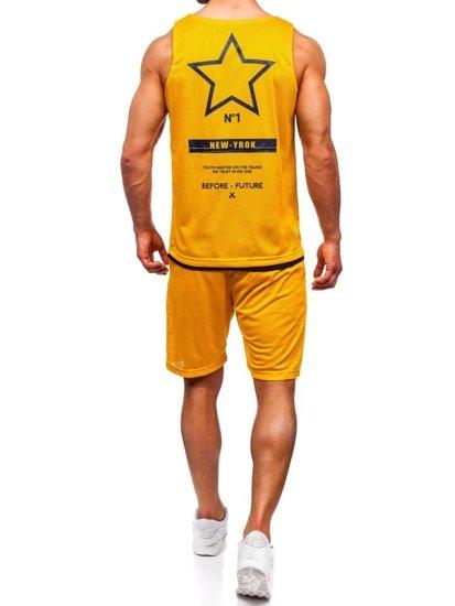Žltý pánsky komplet: tričko + kraťasy  BOLF 100777