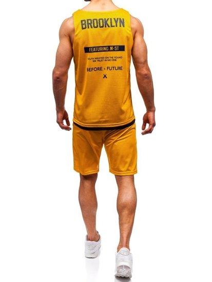 Žltý pánsky komplet: tričko + kraťasy  BOLF 100778