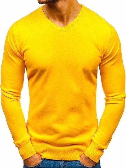 Žltý pánsky sveter s výstrihom do V BOLF 2200