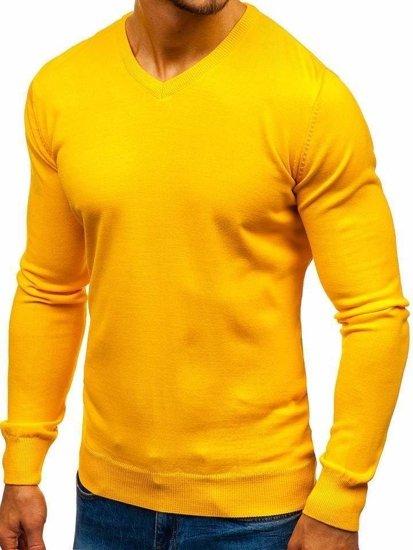 Žltý pánsky sveter s výstrihom do V Bolf2200