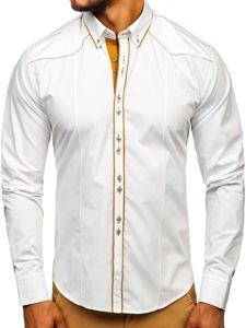 Biela pánska elegantná košeľa s dlhými rukávmi BOLF 4777
