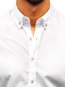 Biela pánska elegantná košeľa s dlhými rukávmi Bolf 5821