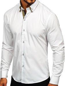 Biela pánska elegantná košeľa s dlhými rukávmi Bolf Bolf 4708