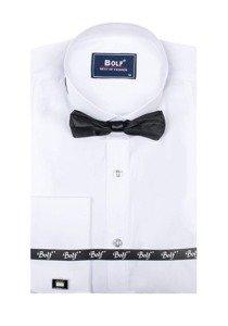 Biela pánska košeľa s dlhými rukávmi BOLF 4702 motýlik+manžetové knoflíčky