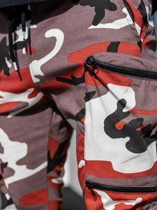 Bordovo-červené pánske kapsáčové joggery Bolf  0475