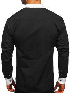Čierna pánska elegantná košeľa s dlhými rukávmi BOLF 6882