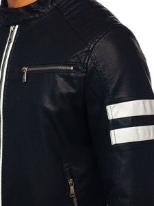 Čierna pánska koženková bunda BOLF 1075-A