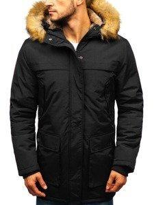 Čierna pánska zimná bunda parka BOLF R105