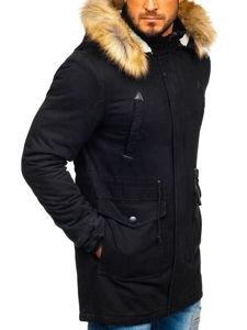 Čierna pánska zimná bunda parka Bolf JK392